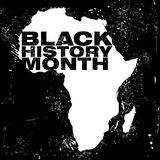 An abstract illustration on the African continent with the text Black History Month. In a grunge style black background royalty free illustration