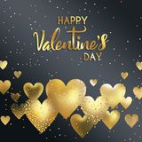 Artistic typography on Valentines day with colorful sprinkles on gold and black hearts. An abstract illustration of artistic typography on Valentines day with Royalty Free Stock Photography