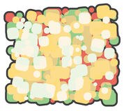 Abstract  illustration background cartoon. a lot of colored squares superimposed on each other Stock Photos