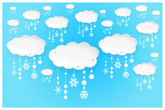An abstract illustration background of white paper clouds with s Royalty Free Stock Photos