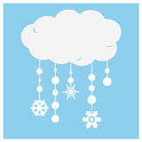 An abstract illustration background of white paper clouds with snowfla Stock Image