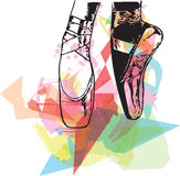 Abstract illustration ballet pointed shoes Royalty Free Stock Image