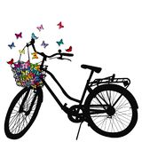 Abstract illustration of a bicycle silhouette with butterflies. Abstract illustration of a bicycle silhouette with colored butterflies flying from its basket Stock Image
