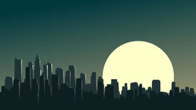 Abstract illustration of big city at night with moon. Stock Images