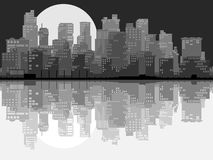 Abstract illustration of big city at night. Royalty Free Stock Images