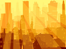 Abstract illustration big city and rays of light. Vector abstract background of big city with roofs, windows and rays of sun through skyscrapers Stock Photography