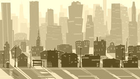 Abstract illustration of big city with shadows. Royalty Free Stock Photos