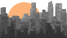 Abstract illustration of big city and sun. royalty free illustration