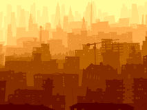 Abstract illustration of big city in sunset. Vector abstract background of big city with roofs, windows and skyscrapers in sunset Stock Photos