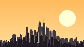 Abstract illustration of big city at sunset. Stock Photo
