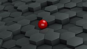Abstract illustration of black hexagons of different size and red ball lying in the center. The idea of uniqueness. 3D rendering. stock illustration