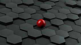 Abstract illustration of black hexagons of different size and red ball lying in the center. The idea of uniqueness. 3D rendering. vector illustration