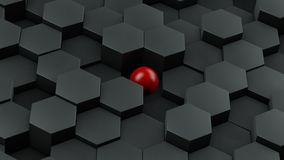 Abstract illustration of black hexagons of different size and red ball lying in the center. The idea of uniqueness. 3D rendering. Abstract illustration of black vector illustration