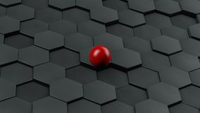 Abstract illustration of black hexagons of different size and red ball lying in the center. The idea of uniqueness. 3D rendering. Abstract illustration of black stock illustration