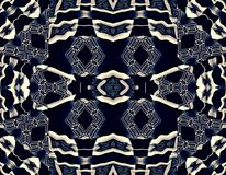 Black and cream colors  pattern. Abstract illustration. Black, white, blue, cream colors. Enamel 3d graphical image Royalty Free Stock Image