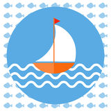 Abstract illustration with a boat on blue water. With waves in a round blue frame, over an white background with fish. Digital vector image Royalty Free Stock Photography
