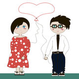 Abstract illustration of a boy and a girl. Abstract illustration of a boy and a girl with a balloon in the shape of heart, vector Royalty Free Illustration