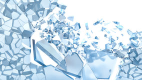 Abstract Illustration of Broken Blue Glass isolated on white Stock Photo
