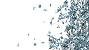 Abstract Illustration of Broken Blue Glass  on white Royalty Free Stock Image