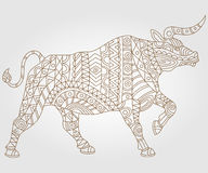 Abstract illustration of a bull contour, contour dark on a light background. Contour illustration with abstract bull, dark outline on a light background Stock Photography