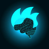 Abstract illustration of burning of the brain - the intense mental activity, discovery, inspiration, ideas. Design concept for invention and innovation Stock Photography