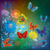 Abstract illustration with butterflies and flowers Royalty Free Stock Image