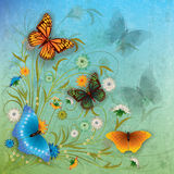Abstract illustration with butterfly and flowers. Abstract grunge color background with butterflies and flowers Stock Images