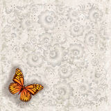 Abstract illustration with butterfly and flowers. Abstract grunge grey background with butterfly and flowers Stock Images