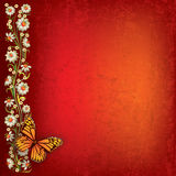 Abstract illustration with butterfly and flowers. Abstract grunge red background with butterfly and flowers Royalty Free Stock Image