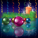 Abstract illustration with christmas decorations. Abstract illustration with candles and christmas decorations Royalty Free Stock Photos