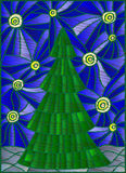 Abstract Illustration with Christmas tree against the starry sky stylized embroidery thread Royalty Free Stock Image