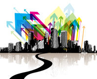 Abstract illustration with city. Stock Photos