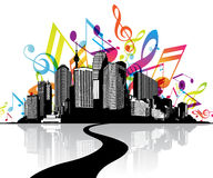 Abstract illustration with cityscape. Road and sky created from music tunes Stock Photo