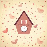 Abstract illustration of clocks with birds Stock Photography
