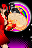 Abstract illustration on a club theme. The girl on an abstract background Stock Image