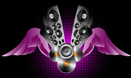 Abstract illustration on a club theme. A winged acoustic columns with vinyl and loudspeakers Royalty Free Stock Photos