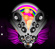 Abstract illustration on a club theme. A winged acoustic columns with vinyl and loudspeakers Stock Photo