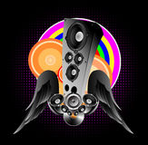 Abstract illustration on a club theme. A winged acoustic column with vinyl and loudspeakers Stock Image