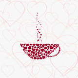 Coffee-cup. Abstract  illustration of coffee-cup and hearts. Place for your text Stock Photo