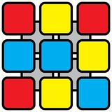 Abstract illustration - colored rounded squares. Abstract illustration - nine colored rounded squares with black outlines in front of four gray squares and white Royalty Free Stock Photos