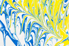 Abstract illustration of a combination of blue and yellow colors on a white based, chaotic pattern of straight and sinuous lines Royalty Free Stock Photos