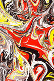 Abstract illustration of a combination of red, yellow and black colors on a white based, chaotic pattern. Of lines stock illustration