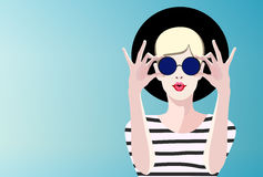 Abstract illustration Cool hipster girl, Stock Photos