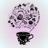 Abstract illustration of a cup, teapot, jam, lemon, cake and other. Stock Photo