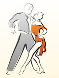 Abstract illustration of dancing couple made in line. Stock Photo