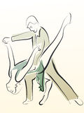 Abstract illustration of dancing couple made in line. Royalty Free Stock Photos