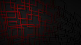 Abstract background of intersecting squares. Abstract illustration of dark red intersecting squares with shadows on black background vector illustration