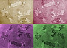 Set of four background of different colors. Effect painted paper. Royalty Free Stock Photography