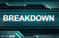 Breakdown inscription in glitched distorted technology interface. Abstract illustration of distorted display screen. Breakdown inscription in technology Royalty Free Stock Photo