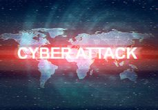 Abstract illustration of distorted display screen. Abstract illustration of distorted dark blue display screen with red light spot. Cyber attack inscription in Stock Images
